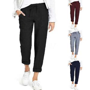 ZANZEA-Femme-Pantalon-Poches-laterales-Taille-elastique-Decontracte-lache-Plus