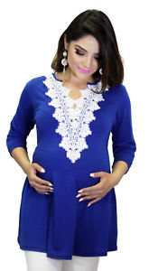 a5e606538b518c Royal Blue Maternity Long Sleeve Casual Wear Pregnancy Top New Solid ...