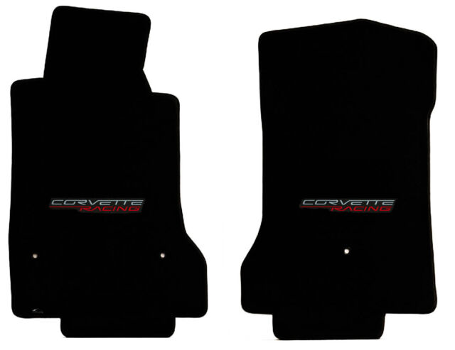 NEW! BLACK FRONT FLOOR MATS 2005-2007 CORVETTE Embroidered C6 RED RACING Script