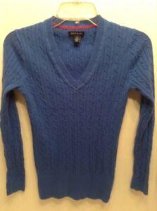 e59c1dd1 Tommy Hilfiger Women Size S-P Classic V-Neck Sweater Blue Cable Knit ...