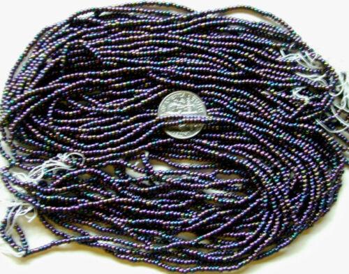 Vintage Purple Blue Green Golden Glass 12//0 Seed Beads Hank Strands Multi Colors
