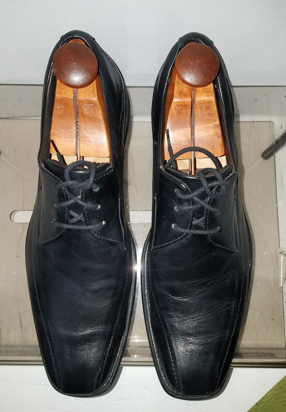 Johnston & Murphy Black Leather Mens Tilden Bicycle Toe Oxford shoes 11 EUC