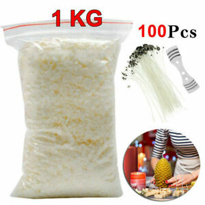 Long-Pre-Waxed-Wicks-Wax-Soy-Soya-Flakes-100-Pure-clean-Burning-Candle-Making
