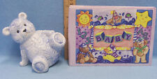 Lot of Blue Ceramic Teddy Bear Bank and Baby Picture Album in Lavender