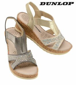 Dunlop-Ladies-Womens-Wedge-Sandals-Ankle-Strap-Memory-Foam-Shoes-Sizes-3-8