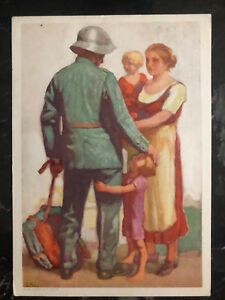 1929-Zurich-Switzerland-Balloon-Flight-Picture-Postcard-PS-Cover-Soldier-Family
