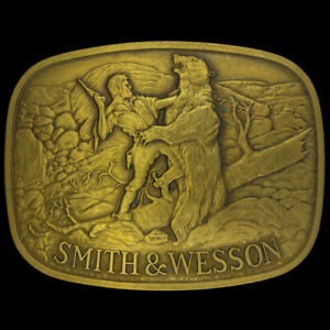 Smith-Wesson-S-amp-W-Grizzly-Oso-Pistola-Cowboy-Del-Oeste-Laton-70s-Vintage-Hebilla