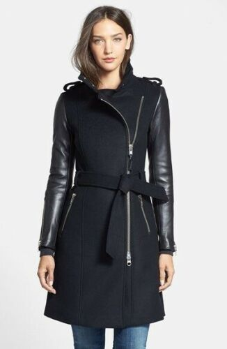MACKAGE Cashmere Lambskin Leather Trench Coat Wool