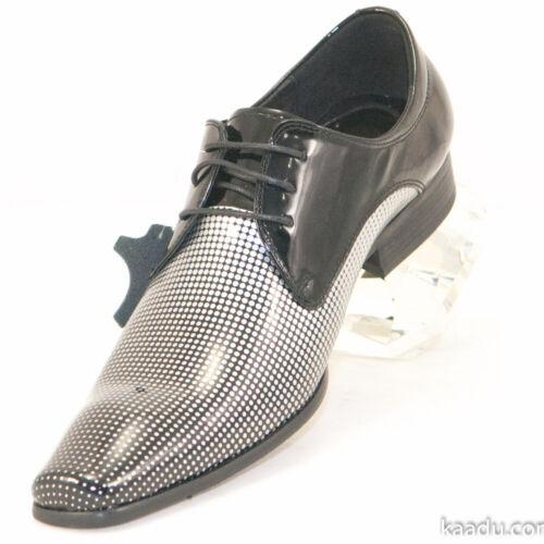 CK1314 Chris Kaadu Men Dress Comfort Loafer Black Silver Patent leather