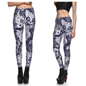 UK NEON PEACOCK LEGGINGS Tribal Feather Leaves Yoga Fitness Gym Clubbing Gift
