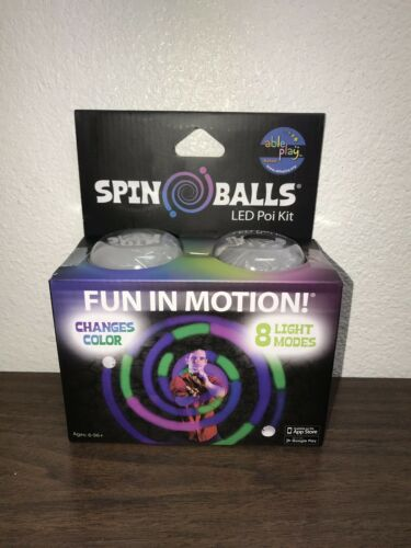LED Poi Kit Light-Up Spin Balls 8 Light Modes Set of Two Motion Night