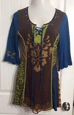 KRISTA LEE Boho Embroidered Beaded Patchwork Tunic Top Women's Sz. Medium Artsy