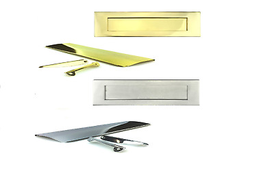 Flap Solid Polished Brass Inner Door Letter Plate 280mm x 80mm Tidy
