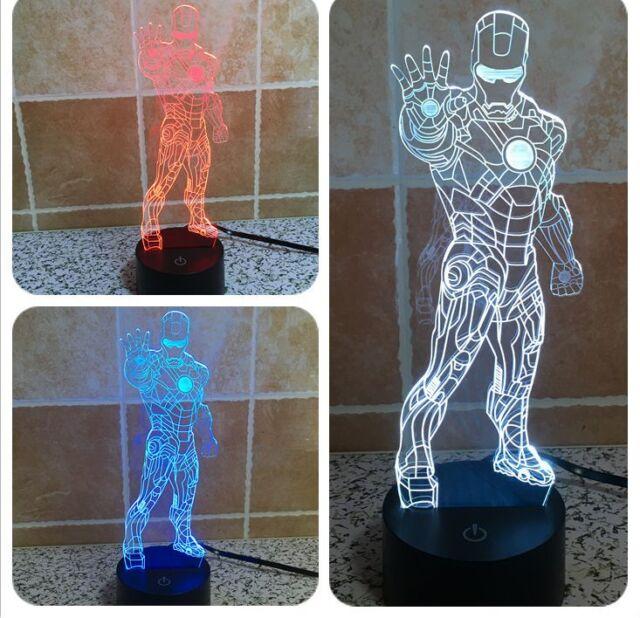 3D iron Man 7 Colorful Vision Light Night Light Desktop Lamp Habbit Toys