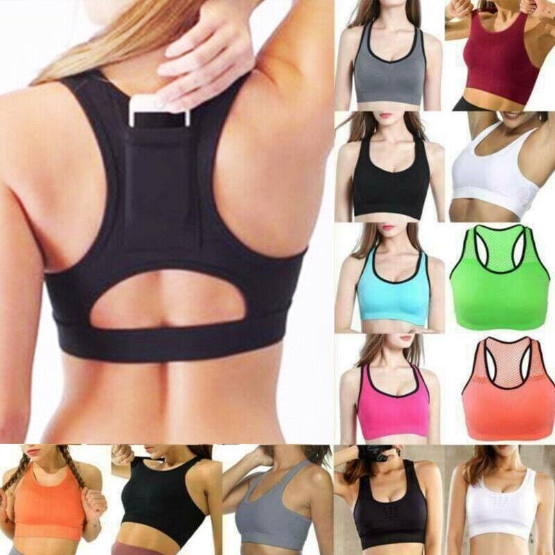 Womens Mesh Padded Sport Bra Fitness Workout Vest Yoga Running Gym Crop Tank Top