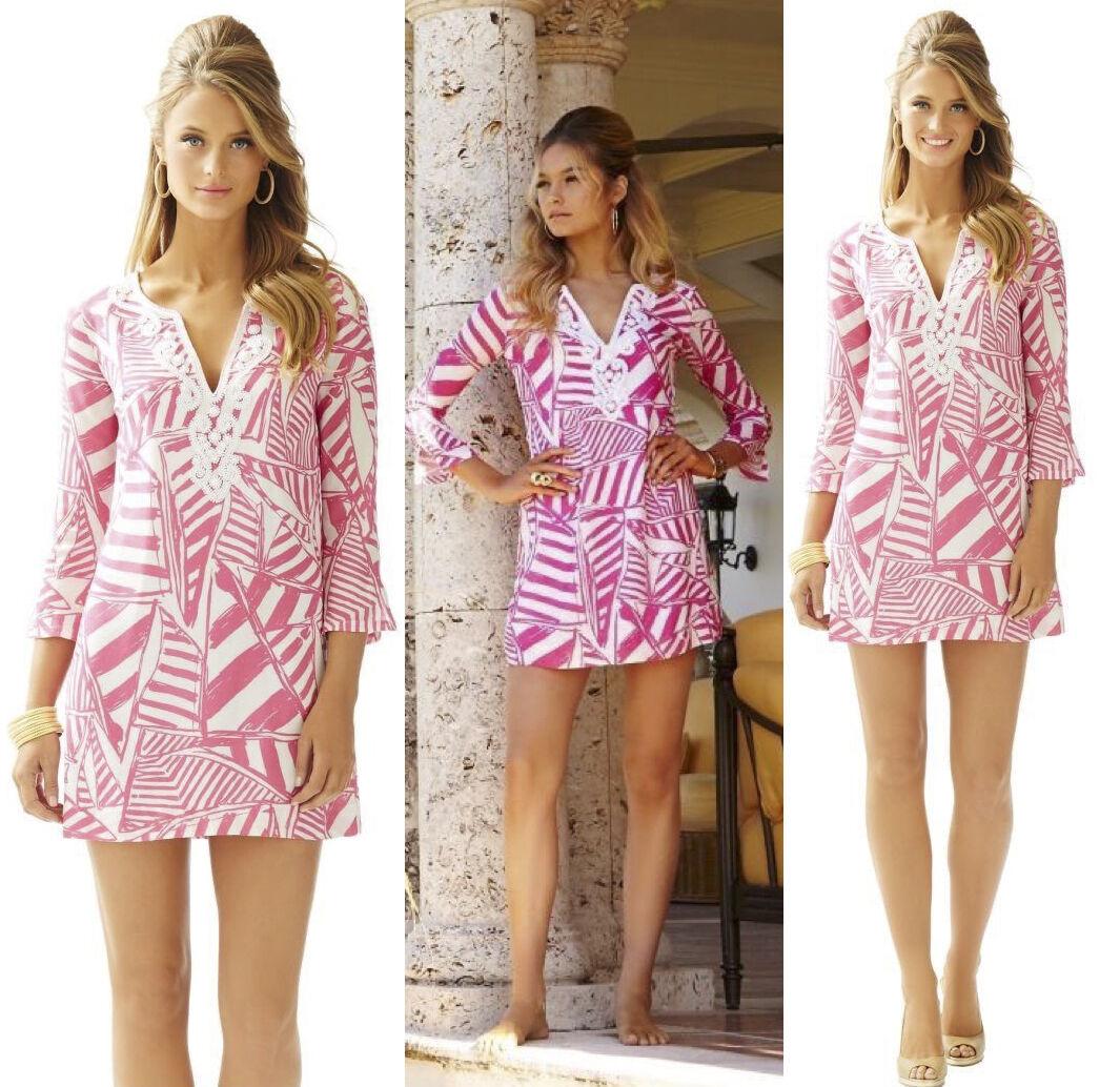 228 Lilly Pulitzer Julianna Beaded Embroidered Capri Pink Yacht Sea Tunic Dress