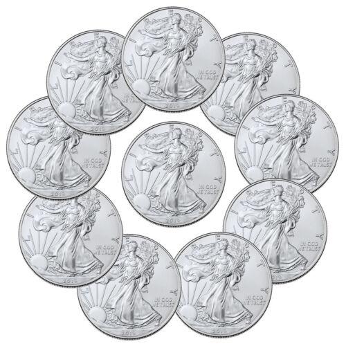Lot of 10 2019 1 oz American Silver Eagle $1 GEM BU Coins SKU56934