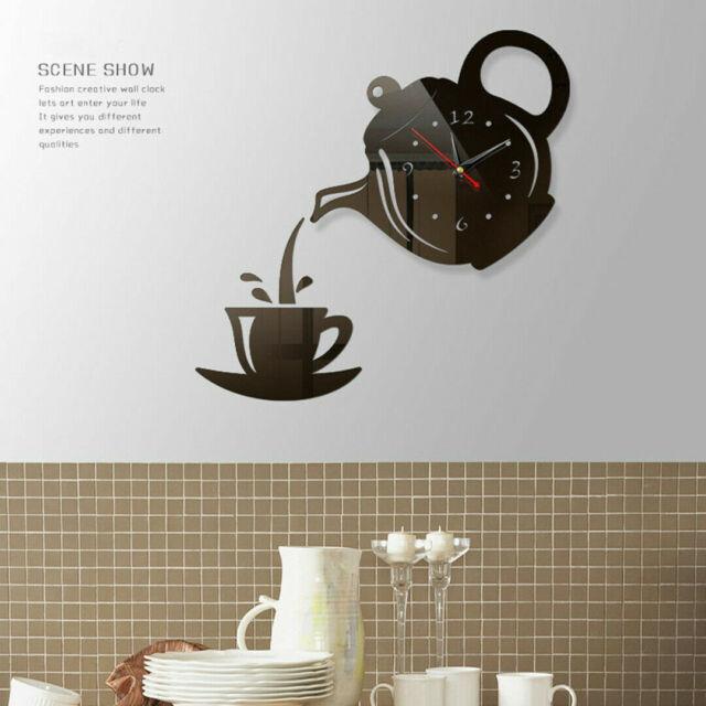 Cute Wall Clock Coffee Cup Shaped Decorative Kitchen Wall Clocks Living Room New