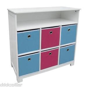 Kids-Bookcase-Toy-Storage-6-Bins-Drawers-Reversible-Blue-Pink-Bookshelf-NEW