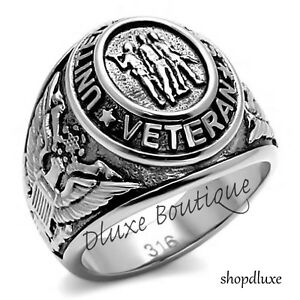 Men-039-s-Stainless-Steel-316-US-United-States-Veteran-Military-Ring-Size-8-14