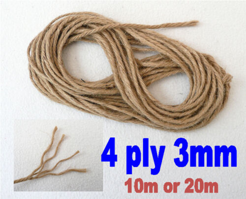 NATURAL ORGANIC BROWN JUTE HESSIAN STRING TWINE STRONG 4-PLY CRAFTS GARDEN