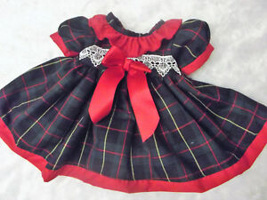 DREAM 0-3 YEARS BABY GIRLS SPANISH EMERALD RED TARTAN  DRESS  OR  REBORN DOLLS