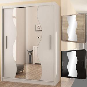 kleiderschrank tokyo v schwarz wei eiche sonoma spiegel zwei breiten m bel ebay. Black Bedroom Furniture Sets. Home Design Ideas