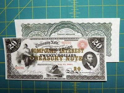 Reproduction $20 1864 Compound Interest T-Note US Paper Money Currency Copy