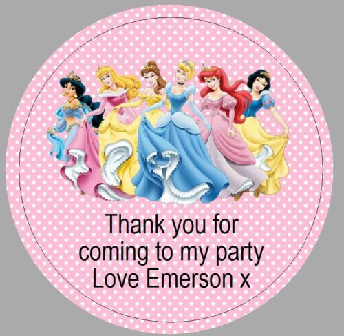 24 x 40mm personalised round disney princess pink labels stickers party thankyou
