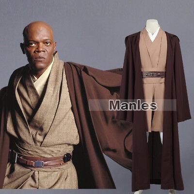 Mace Windu Cosplay Star Wars Episode II Costume Men Fancy Dress Long Mantle New