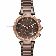 ** Nuovo * Donna Michael Kors Brown Cristallo PARKER Rose Gold Watch mk6378-RRP £ 259
