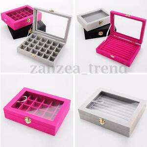 Image Is Loading Uk Velvet Jewelry Ring Display Organizer Case Tray