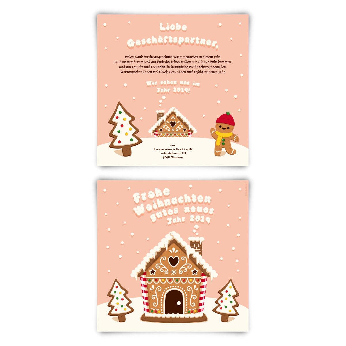 Geschäftliche Weihnachtskarten Grußkarten individuell - Lebkuchenhaus