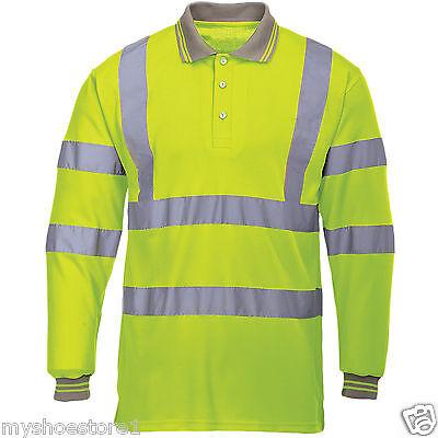 Hi Viz Vis High Visibility Polo Shirt Reflective Tape Safety Security Work Top
