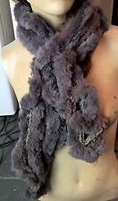 grey genuine real rabbit fur wavy scarf neck warmer collar shawl stole