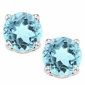 2 ct. Sky Blue Topaz Round Basket Stud Earrings set in Sterling Silver