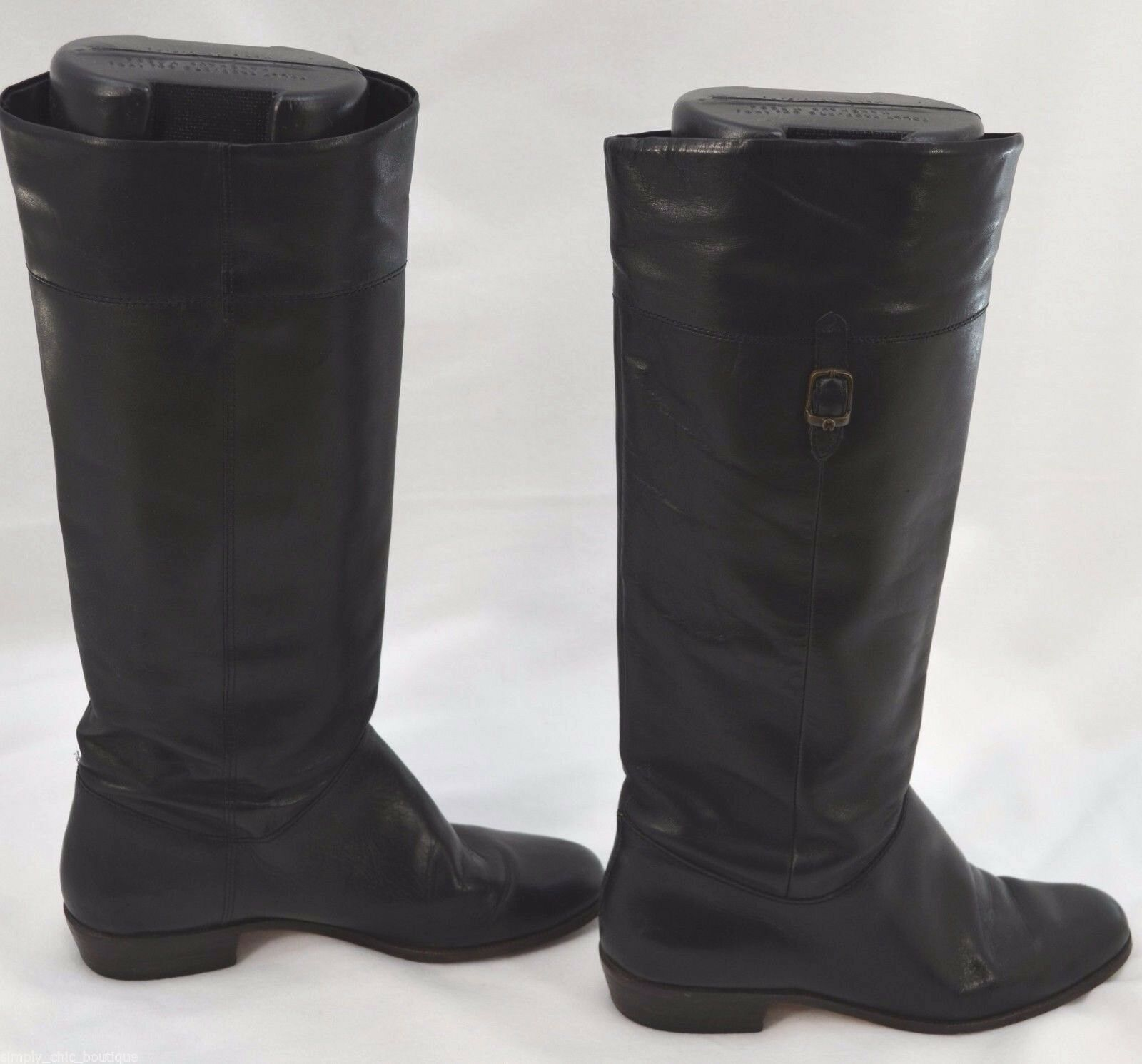 Etienne Aigner Boot Black Leather horse riding Heel KNEE fashion fashion fashion BOOTS 7.5 N VTG be0808