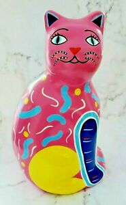 Vintage-Mexican-MAYABELLA-Pink-Folk-Art-Cat-Hand-Painted-Pottery-Piggy-Bank