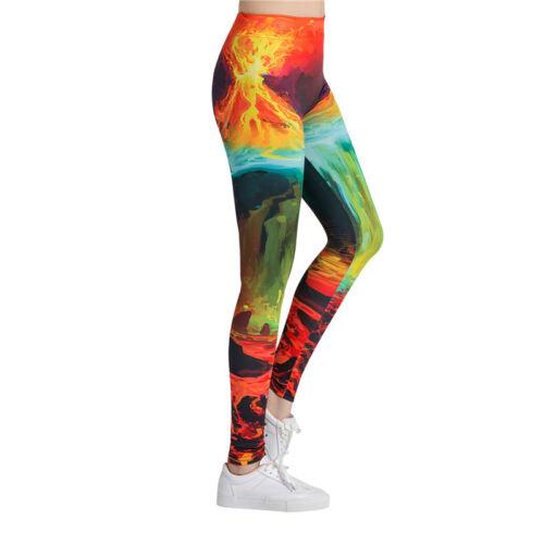 Women's Volcano Design Leggings Fitness High Waist Stretchy Exercise Yoga Pants