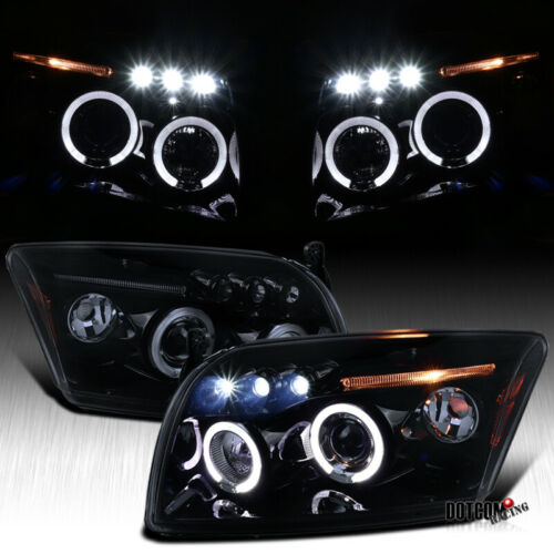 2007-2012 Dodge Caliber Black Smoke LED Halo Projector Headlights Headlamps Pair