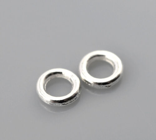 500 Silberfarbe Ösen Bindering Geschlossen Ringe 4mm D B21335 PD