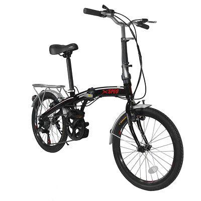 "Xspec 20"" 7 Speed City Folding Mini Compact Bike Bicycle  Commuter Shimano Black"
