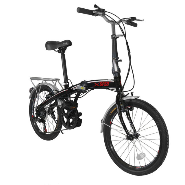 "Xspec 20"" 7 Speed City Folding Mini Compact Bike Bicycle  Commuter Shimano Black"