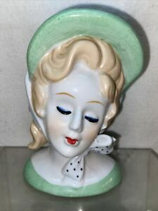Vtg Nippon Reproduction Lady Green Bonnet Bow Tie Hand Painted Head Vase Planter