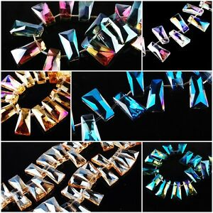 HOT-Trapezia-Charms-Faceted-Glass-Crystal-Necklace-Makings-Spacer-Beads-Necklace
