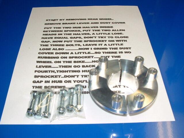 CNC REAR HUB ADAPTER  GAS BIKES USE ANY STOCK ENGINE KIT SPROCKET SUPER EASY