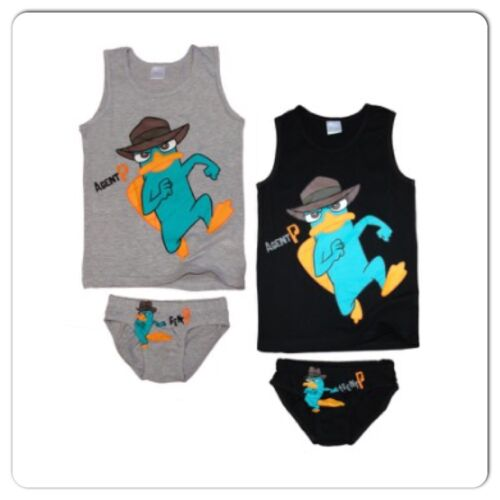 Boys Official Perry the Platypus Vest /& Pants Set Phineas Ferb Underwear Agent P