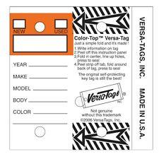 Color Top Orange Genuine Versa Tag White Key Tags Self Protecting 250 Per