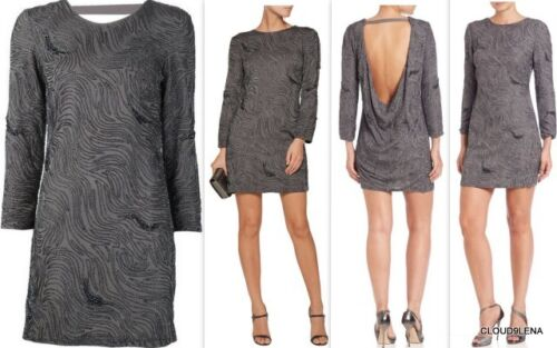 NWT $595 HALSTON Heritage Sizes 10//12 Open Back Beaded Embroidery Shift Dress