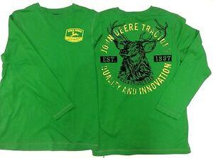 New john deere green 2 sided design long sleeve t shirt for John deere shirts for kids